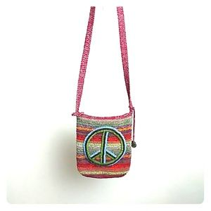The Sak Peace Sign Hobo Hippie Shoulder Strap Bag